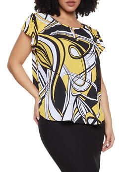 Plus Size Abstract Print Keyhole Blouse - 8407072685180
