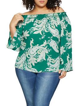 Plus Size Paisley Off the Shoulder Top - 8407072685188