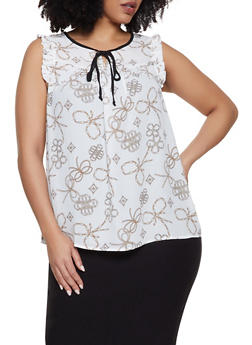 Plus Size Printed Ruffle Tie Neck Blouse - WHITE - 8407072685190