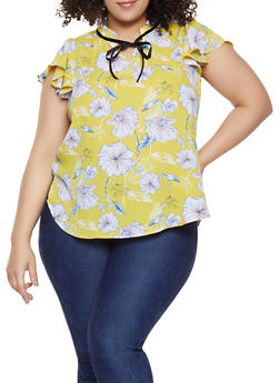 Plus Size Floral Flutter Sleeve Blouse - 8407072685191