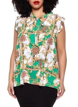 Plus Size Status Print Tie Neck Blouse - 8407072685196