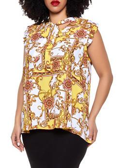 Plus Size Status Print Tie Neck Blouse - 8407072685196