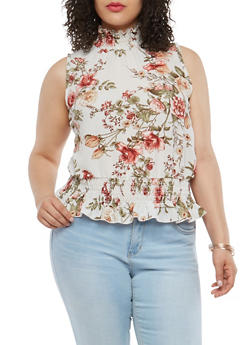 Plus Size Smock Ruffle Floral Top - 8407074014210