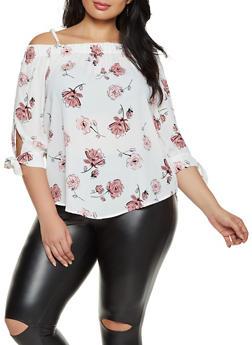 Plus Size Tie Sleeve Floral Cold Shoulder Top - 8407075845008