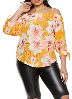 Plus Size Tie Sleeve Floral Cold Shoulder Top - 8407075845008