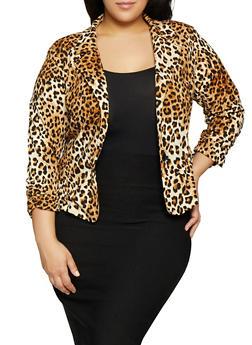 Plus Size Leopard Print Blazer - 8423020620037