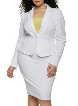 Plus Size One Button Textured Knit Blazer - 8423020620347