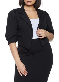 Plus Size Pleated Sleeve Cropped Blazer - 8423020625429