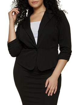 Plus Size Ruched Sleeve Blazer - 8423020625503
