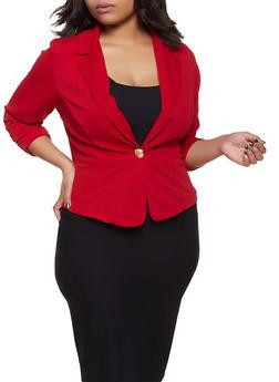 Plus Size Crepe Knit Blazer - 8423020629050