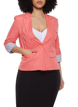 Plus Size Fixed Striped Cuff Linen Blazer - 8423062703552