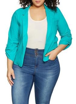 Plus Size Linen Blazer - 8423062704552