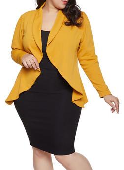 Plus Size Textured Knit Blazer - 8423062705413