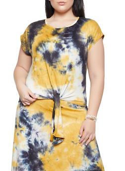 Plus Size Tie Dye Soft Knit Tee - 8424020620169