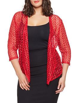 Plus Size Lace Cardigan - 8424062701589