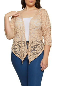 Plus Size Lace Cardigan - 8424062703147