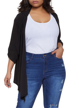 Plus Size Tabbed Sleeve Cardigan - 8424062705327