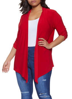 Plus Size Tabbed Sleeve Cardigan - 8424062705327