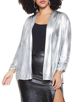 Plus Size Coated Open Front Cardigan - 8424065241453