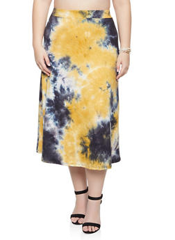 Plus Size Tie Dye Midi Skirt - 8425020624912
