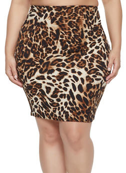 Plus Size Leopard Print Pencil Skirt - 8425020627585