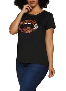 Plus Size Sequin Leopard Lip Tee - 8427043390860