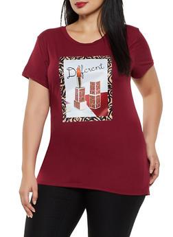 Plus Size Different Lipstick Graphic Tee - 8427043392860