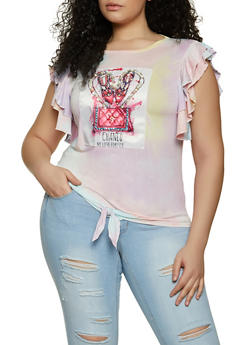 Plus Size Graphic Patch Tie Dye Tee - 8427043393946