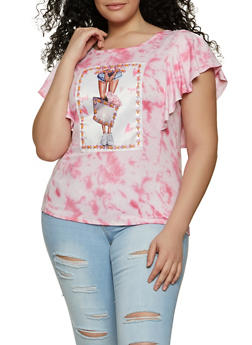 Plus Size Graphic Patch Flutter Sleeve Tie Dye Tee - 8427043394090