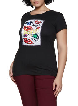 Plus Size Faux Pearl Studded Hope Patch Tee - 8427043394649