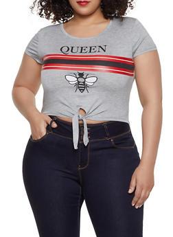 Plus Size Queen Tie Front Tee - 8427062702594