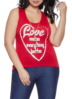 Plus Size Love Tank Top with Necklace - 8427062702614