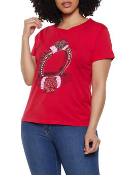 Plus Size Studded Ring Graphic Tee - 8427062702672