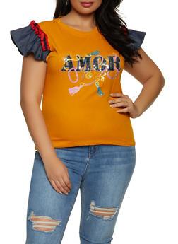 Plus Size Amor Cap Sleeve Top - 8427062703075