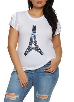 Plus Size Studded Eiffel Tower Top - 8427062704075