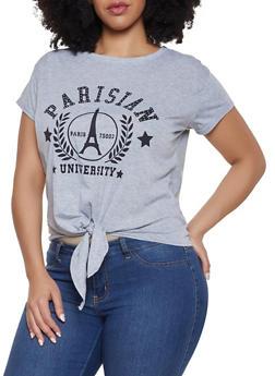 Plus Size Parisian University Tie Front Tee - 8427064465375