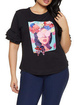Plus Size Flower Graphic Patch Top - 8427064466235