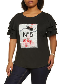Plus Size Perfume Graphic Patch Tee - 8427064466255