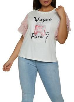Plus Size Vogue Paris Patch Top - 8427064466286