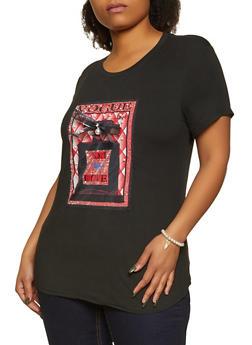 Plus Size Vogue Rhinestone Patch Tee - 8427064466335