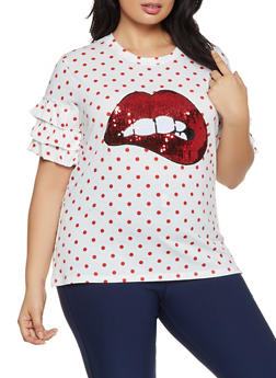 Plus Size Polka Dot Sequin Lip Top - 8427064466425