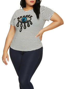 Plus Size Sequin Eye Striped Top - 8427064466437