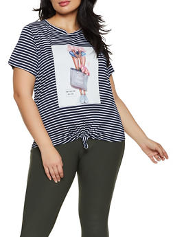 Plus Size 3D Flower Graphic Striped Tee - 8427064466665
