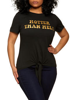 Plus Size Hotter Than Hell Graphic Tee - 8427064466745