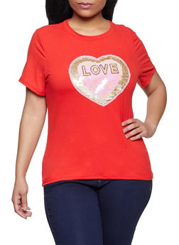 Plus Size Love Graphic Patch Tee - 8427064466875