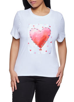 Plus Size Heart Patch Top - 8427064466905