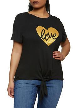 Plus Size Tie Front Love Tee - 8427064466925