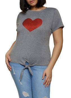 Plus Size Tie Waist Heart Graphic Tee - 8427064466935