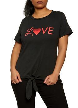 Plus Size Love Tie Front Tee - 8427064466945