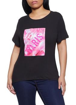 Plus Size Love Paris Patch Tee - 8427064467895
